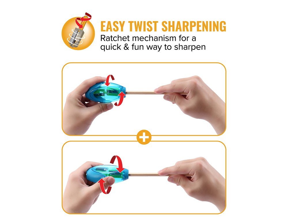 Bostitch Office Twist-N-Sharp Manual Pencil Sharpner, 2 Holes for Standard and Jumbo Pencils with Rachet Technology, Perfect Kids Pencil Sharpener (PS2-ASST) by Bostitch Office (Image #2)