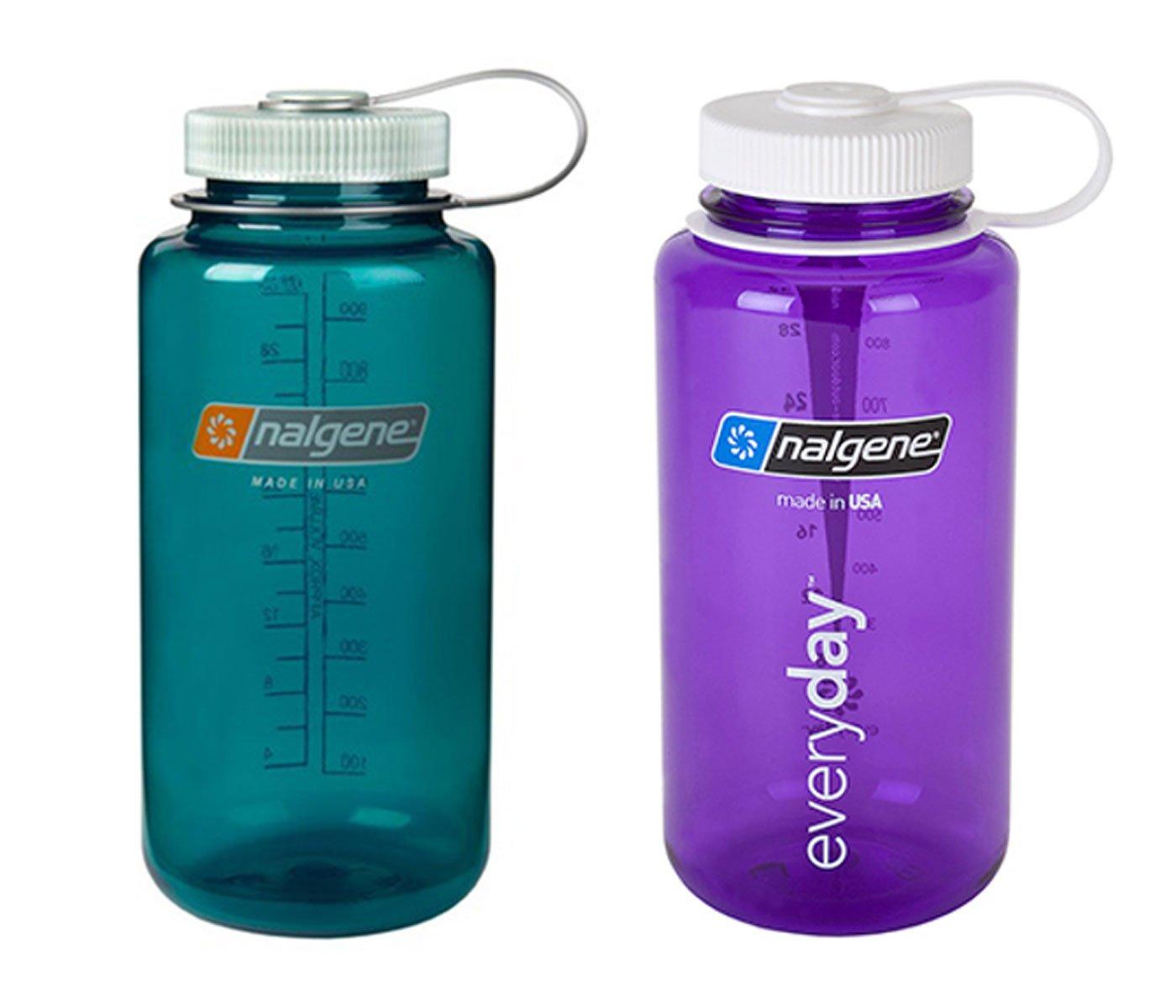 Nalgene 32 Ounce Set of 2 32oz Water Bottles Wide Mouth WM