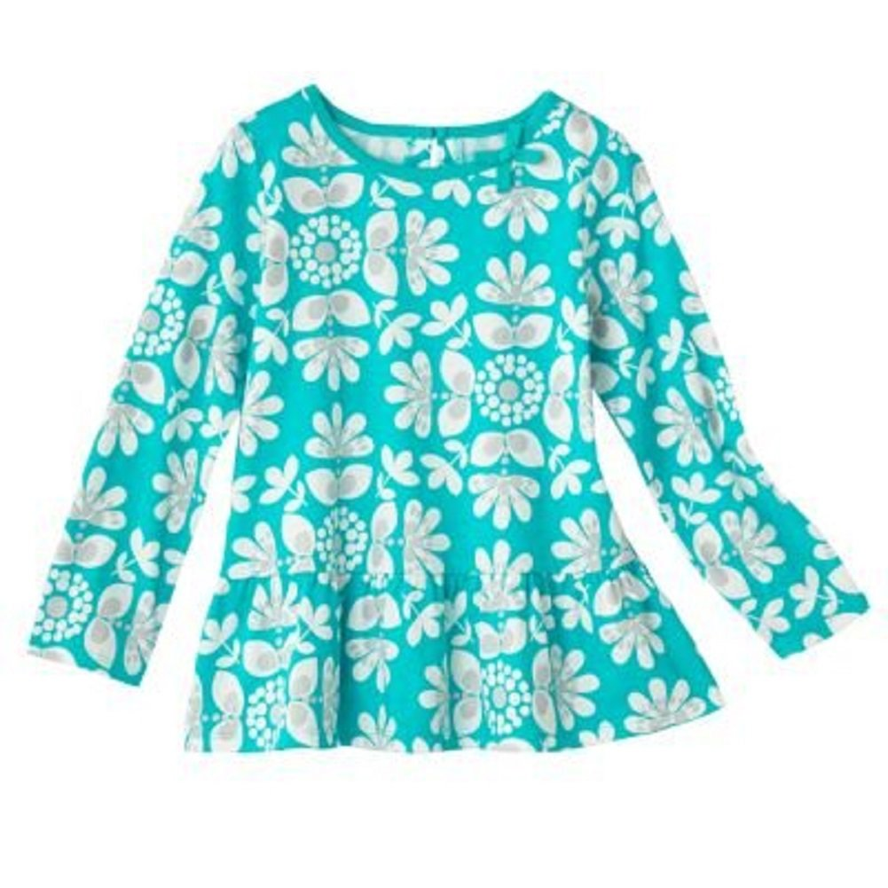 5 Kids Carters Kid Girls Long-Sleeve Ruffle Hem Top Blue