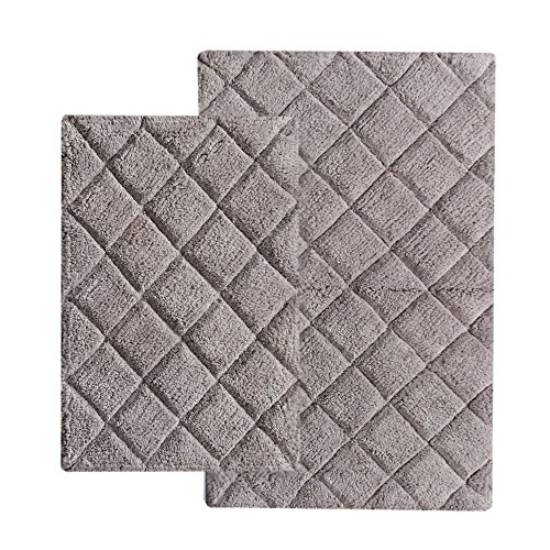 Chardin Home - 100% Cotton 2 Piece Impression Bath Rug Set, (24''x40'' & 21''x34'') Lavender