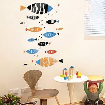 Wandsticker Tapete Q Version Cute Little Fish Nordischer Wind Kunst