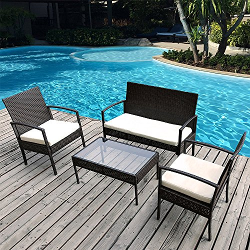 Merax 4 PC Outdoor Rattan Furniture Set Patio Wicker Cushioned Set Garden Sofa Set