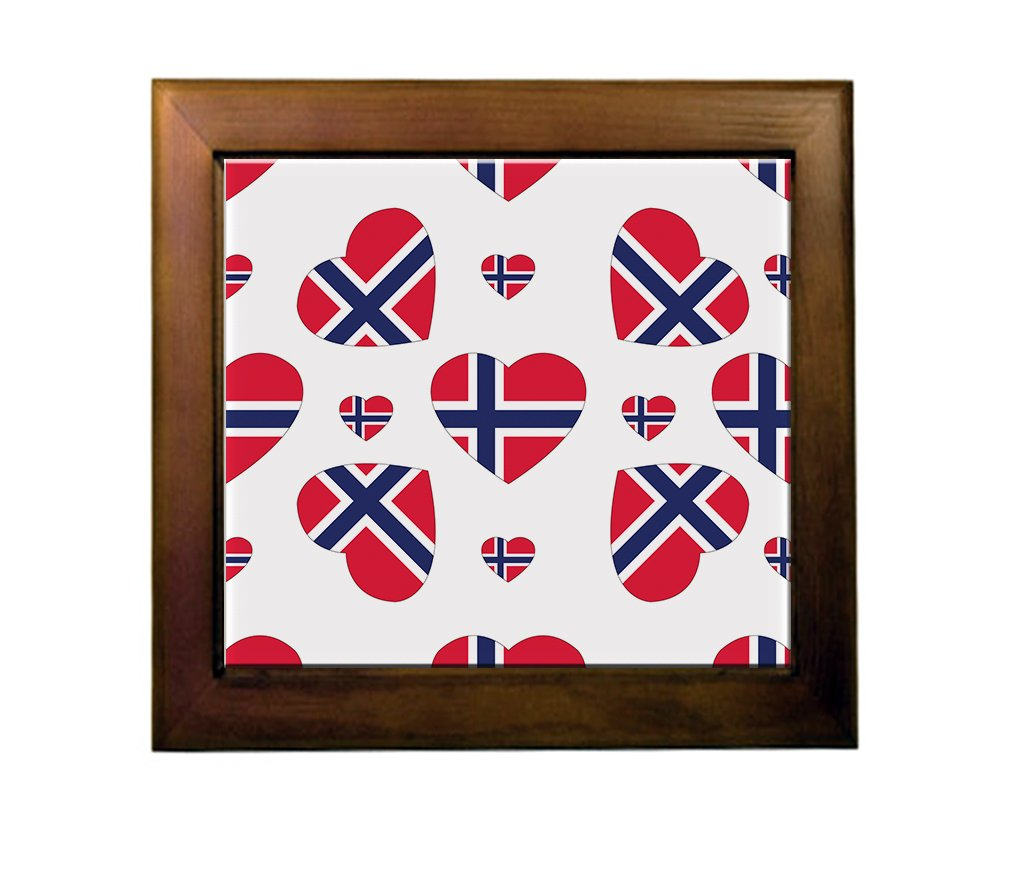 Norway Country Flag Hearts Ceramic Tile Backsplash Accent Mural outlet