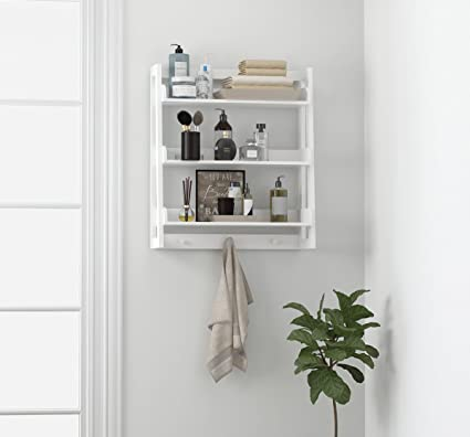 utex 3 tier bathroom shelf wall mounted with towel hooks bathroom organizer shelf over the - Bathroom Shelf Over Toilet