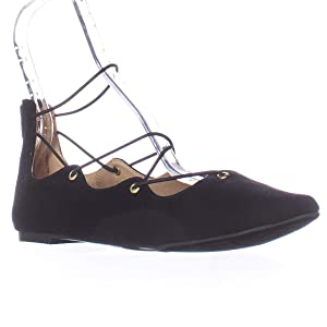 M.G. Mibby Lace-up Ballet Flats - Black, 6.5 M US