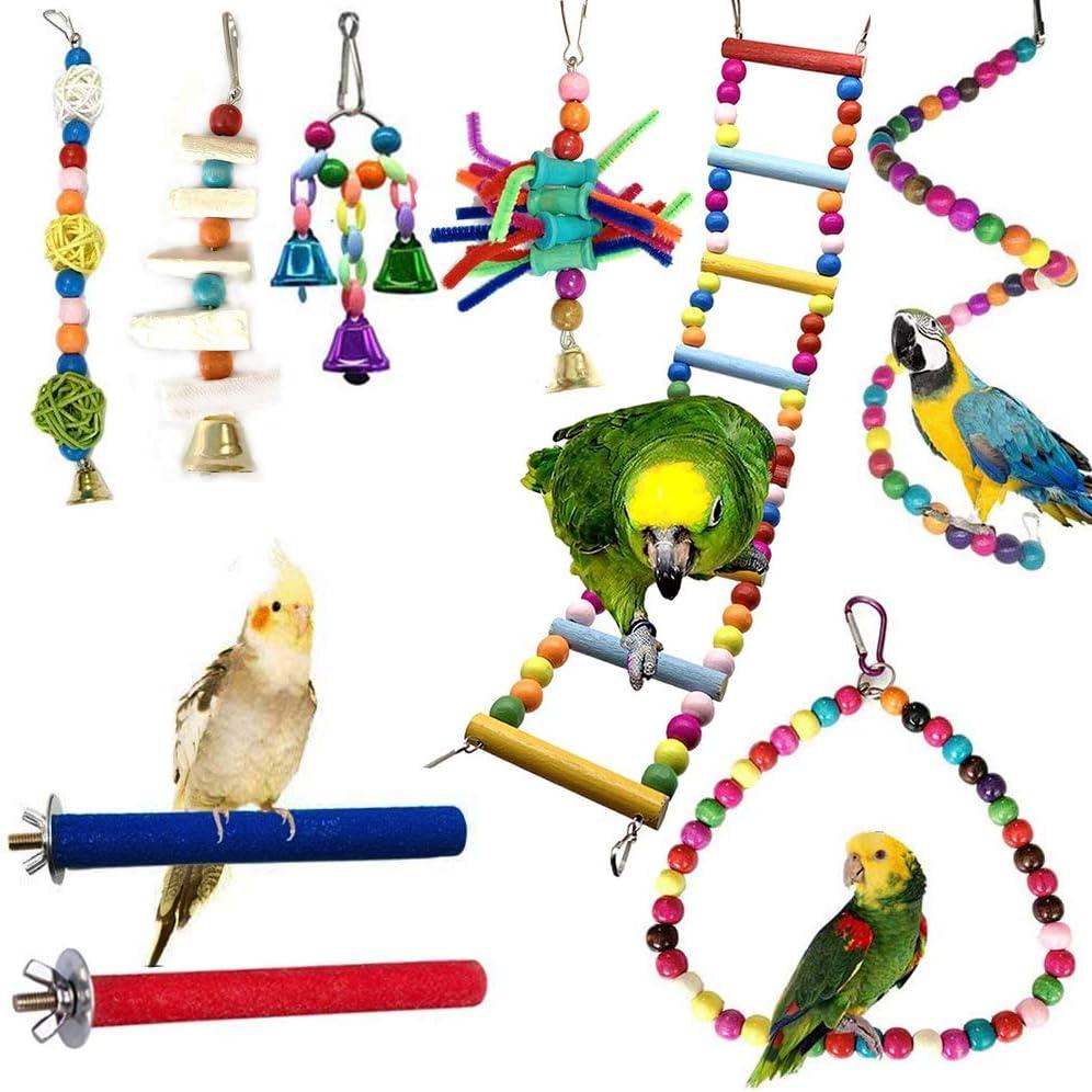 WADY - Juguetes para pájaros, juegos de loros, 9 piezas, trenzas y percheros de juguete, coloridos, de madera, escaleras de juguete, cuerda para pájaros pequeños y medianos