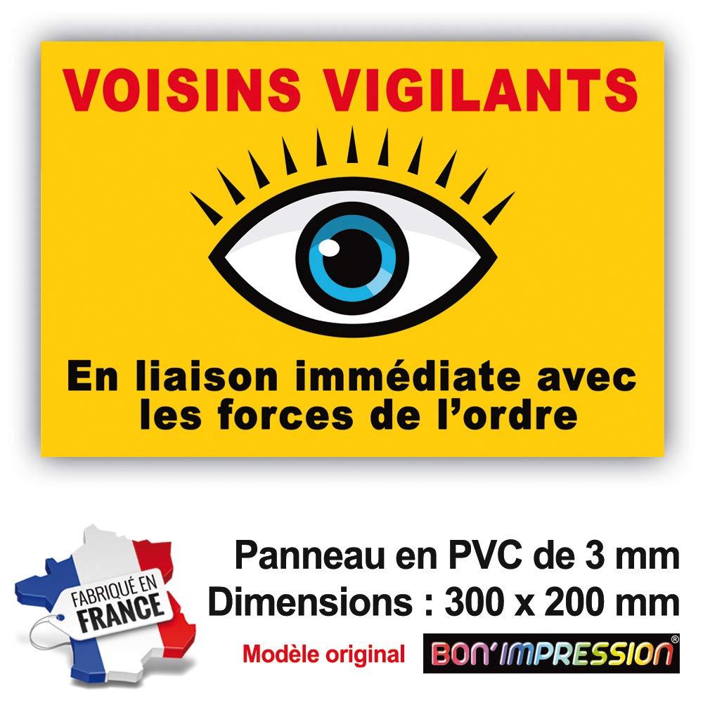 Panneau de Dissuasion VOISINS VIGILANTS 300 x 200 mm en PVC + 4 Trous pour Fixation (Fond Jaune orangé ) avec Texte : en Liaison immé diate avec Les Forces de l'ordre Bon' impression