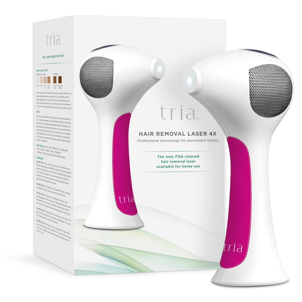 Tria Beauty Hair Removal Laser 4X for Women and Men - At Home Device for Permanent Results on Face and Body - FDA cleared - Fuschia by Tria Beauty