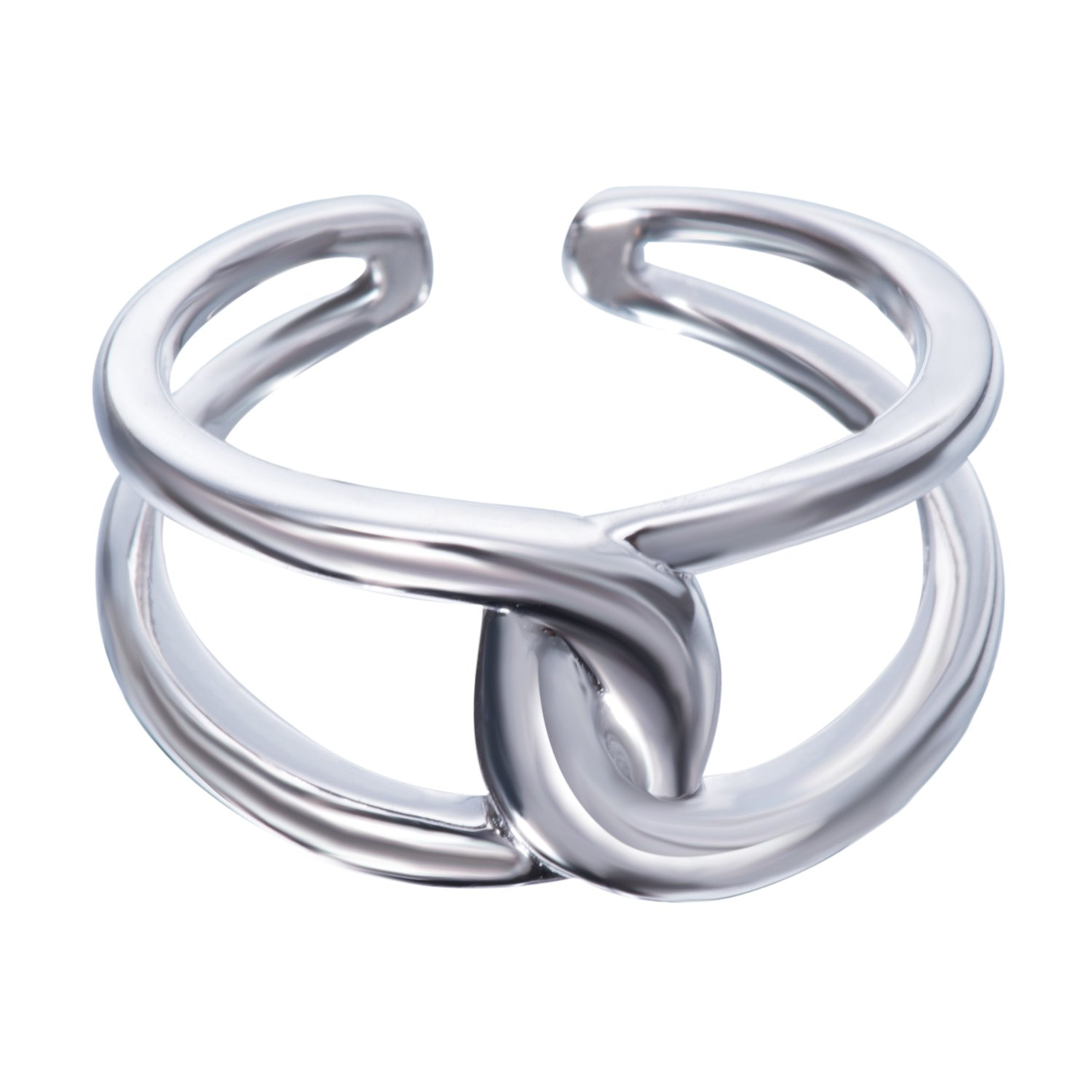 Fonsalette Gold Plated Infinity Ring Sterling Silver Open Twist Ring Two Band Ring (silver)
