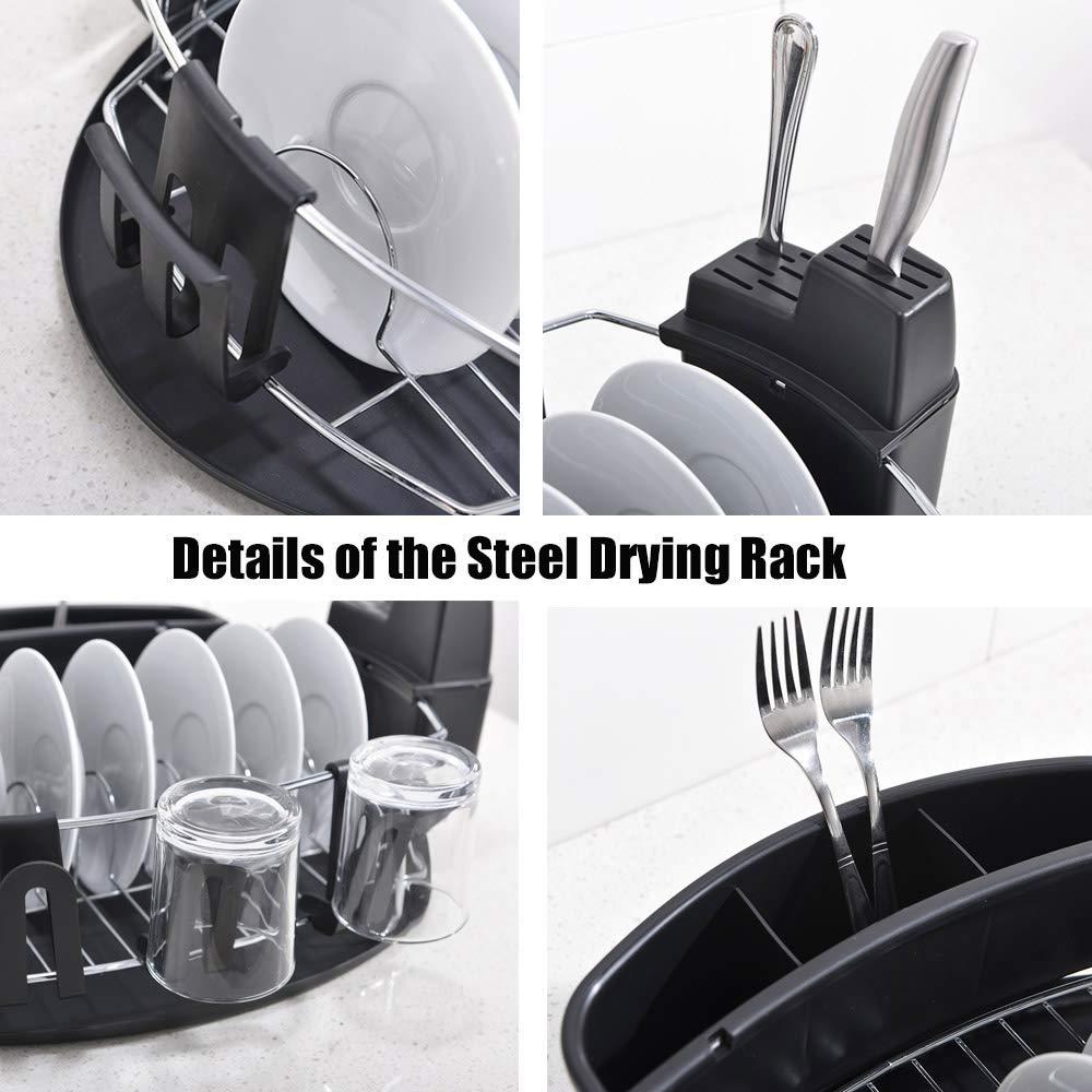 with DrainBoard Black Dish Drying Rack DRSTYHWC017B SOTTAE Modern Steel Rust Proof Kitchen Dish Rack