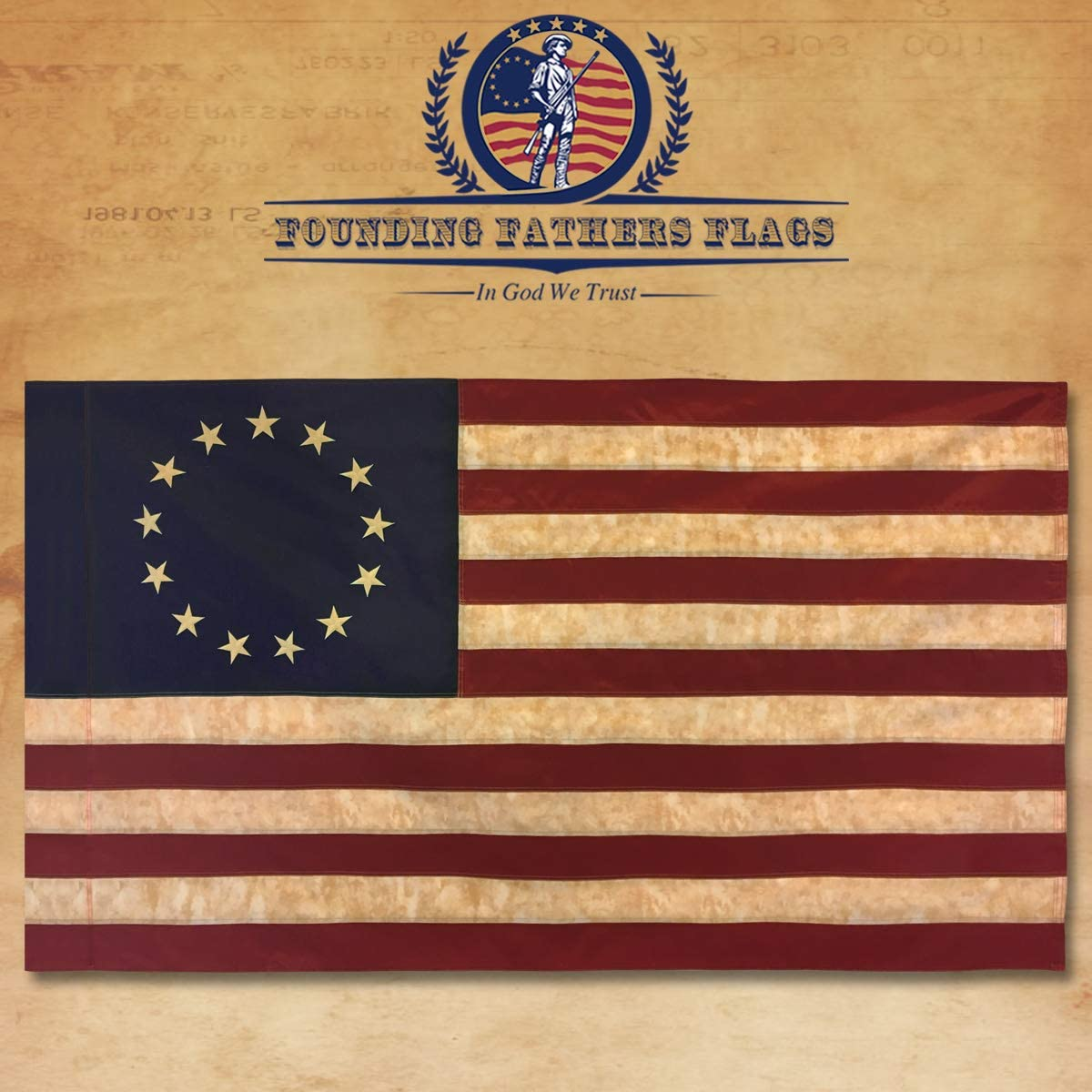 RED 3 x 5 lightweight polyester ANTIQUES FLAG WHITE AND BLUE STRIPE FLAG
