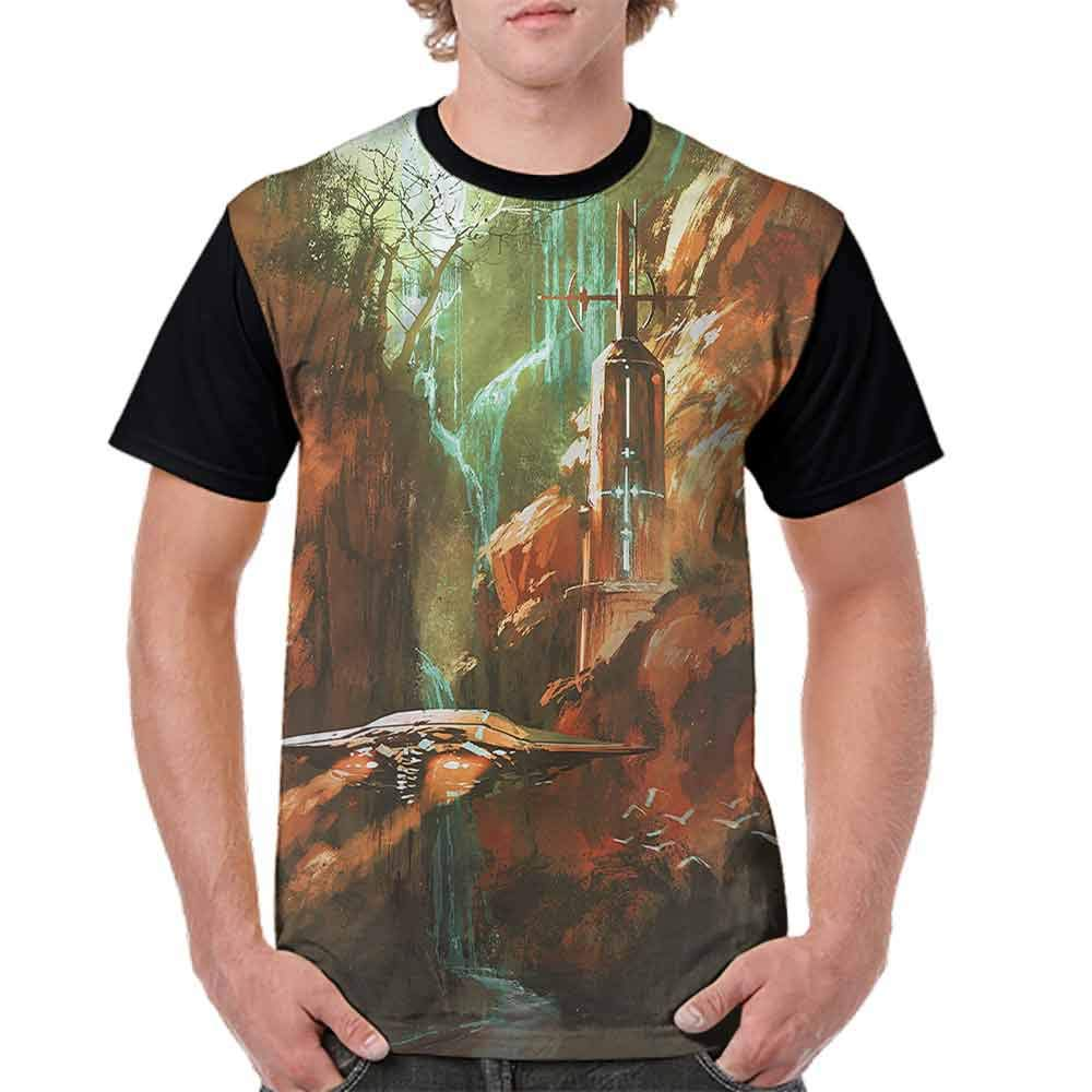 Printed T-Shirt,Spaceship in Canyon Fashion Personality Customization