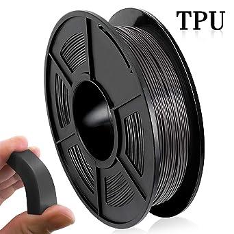 Filamento Impresora 3D TPU, Filamento TPU 1.75 mm 500G (1.1 lb), Materiales Impresión 3D Flexibles, Negro