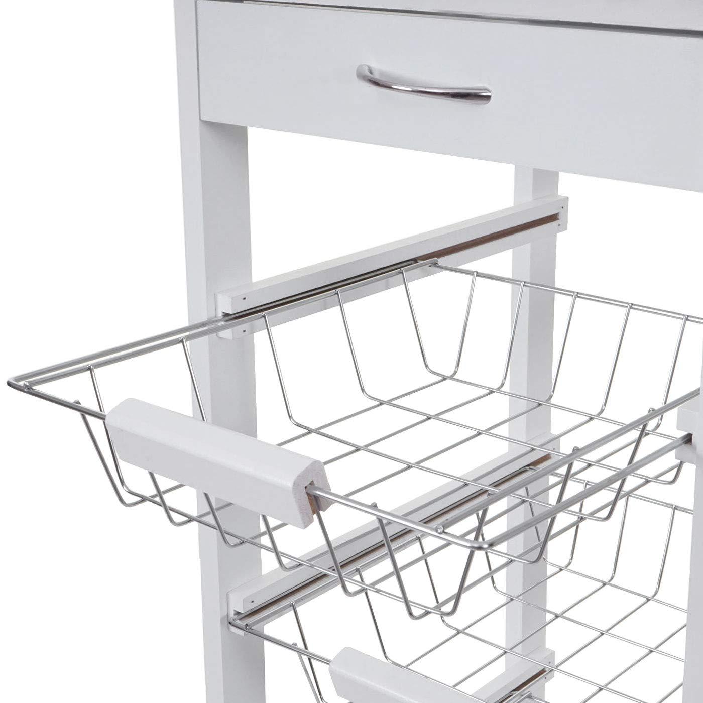pour Le Bar pour la Cuisine 76x37x37cm en Blanc /à roulettes et avec tiroir Chariot de Service HWC-B69
