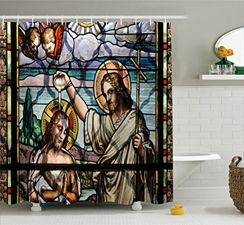 Religious Shower Curtain by Ambesonne, Colorful Religious Ritual with Impotant Scenery Historic Art Illustration Print, Fabric Bathroom Decor Set with Hooks, 70 Inches, (Religious Prints)