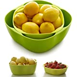 Home and Above Salad Bowl Set to Hold Fruits, Salads and More, Green/Yellow