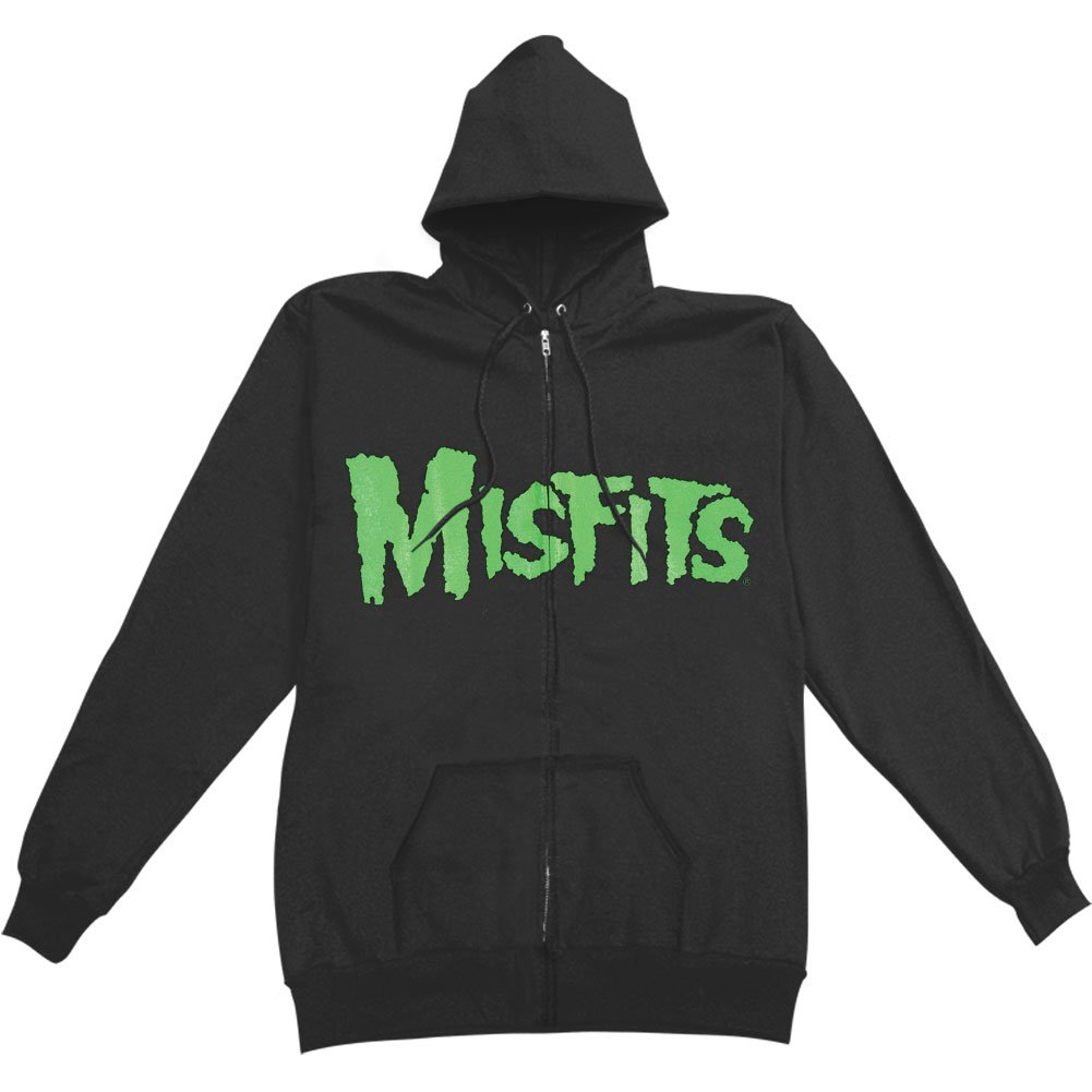 Misfits Men's Jarek Skull Zippered Hooded Sweatshirt Black ROCK OFF MASONS MUSIC