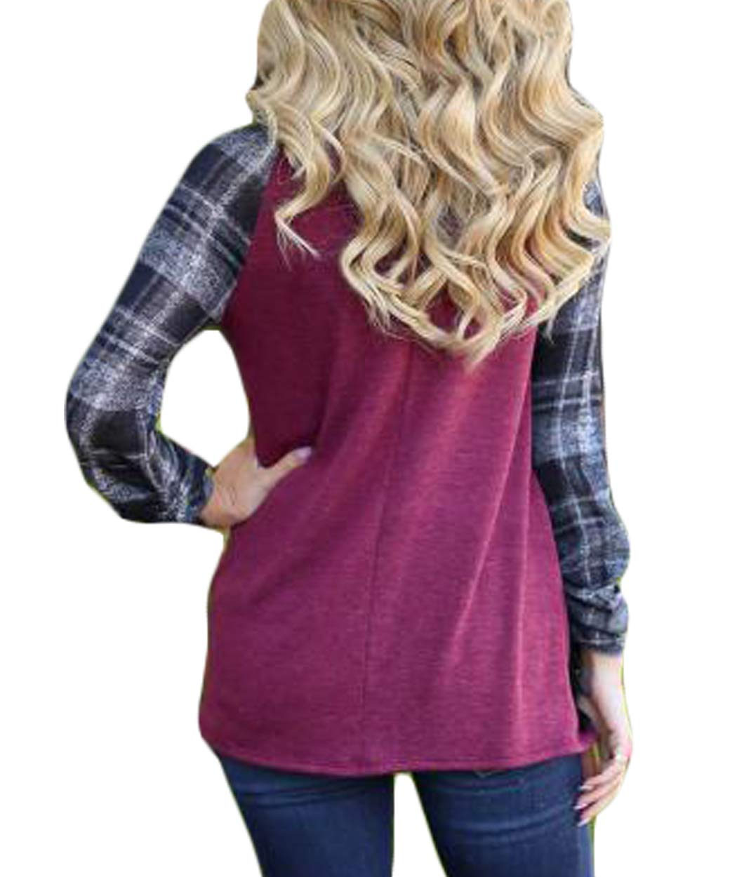 Eanklosco Women Long Sleeve Tops Plaid Patchwork Shirt Casual Round Neck Color Block Tunic Blouse (M, Purple)
