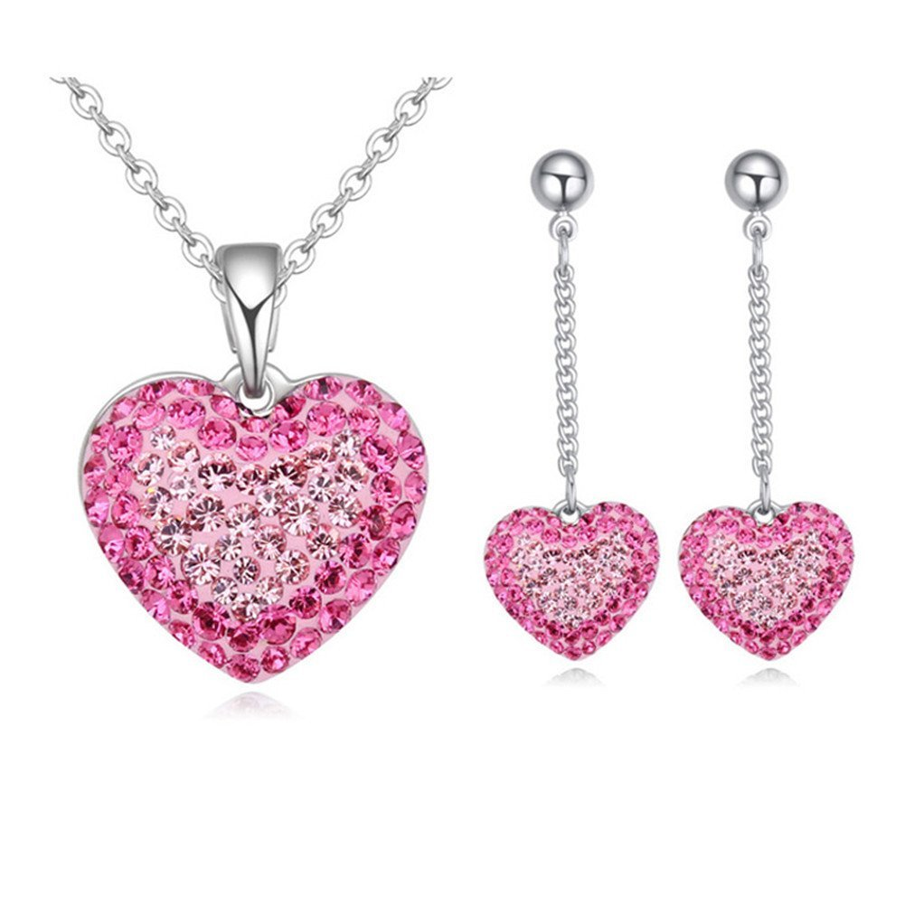 Btime Sweet Heart Crystal Jewelry Set Crystals from Swarovski