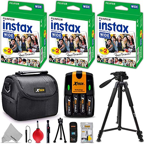 Fujifilm Case Fitted - Xtech FujiFilm Instax Wide Accessories Kit for Fujifilm Instax 300 210 200 Wide Includes: 3 Pack Wide Film (60 Exposures), 4AA Batteries with Charger, Fitted Case + 60
