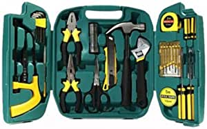27 Pieces Homeowner Tool Set for Auto Repair, Durable Household Small Hand Tool Kit with Plastic Tool box for DIY, Interior Decor, Household Chores, Car Repair, Craftsman