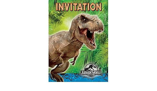Juego De Tarjetas De Invitación De 16 Piezas Jurassic