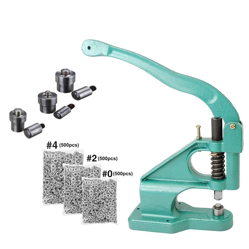 #0#2#4 Manual Grommet Press Punch DIY Tool Kit Eyelet Press Machine with 1500 Grommets iMeshbean Hand Grommet Machine 3 Die