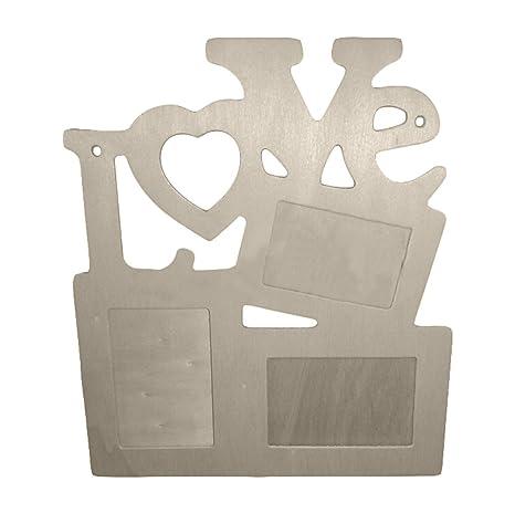 Mcitymall77-DIY Marco de fotos de bricolaje amor romántico,de madera,palabra LOVE