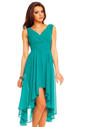 Vokuhila Abendkleid, Cocktailkleid, Kleid aus Chiffon, grün: Amazon ...