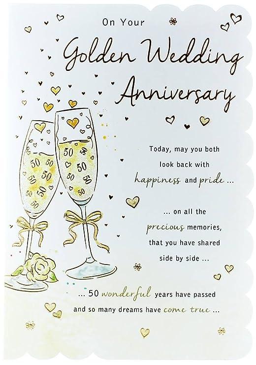 Gold Golden 50th aniversario de boda Tarjeta de felicitaciones ...