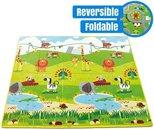 Hape Baby FOLDING Play Mat for Floor   Reversible Thick, Extra Large Foam Playmat Encourages Learning, Non Toxic, Printed, Colorful   Ideal for Tummy Time, for Babies 3 mos +