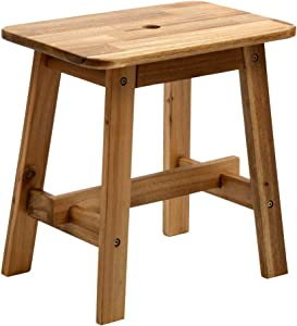 BEEFURNI Rectangular Top Acacia Wood Seat Comfortable Sitting Strong Legs Stool Minimalist Loft Rustic Solid Wooden Home Décor Stylish Minimal Classic Room Decorations, Natural Color