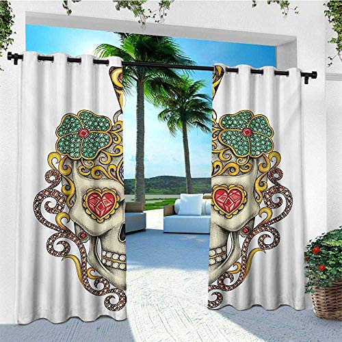 Pleat Box Pendant - leinuoyi Day of The Dead, Outdoor Curtain Grommet, Sugar Skull with Heart Pendants Floral Colorful Design Print, for Patio Furniture W108 x L108 Inch White Ivory and Yellow