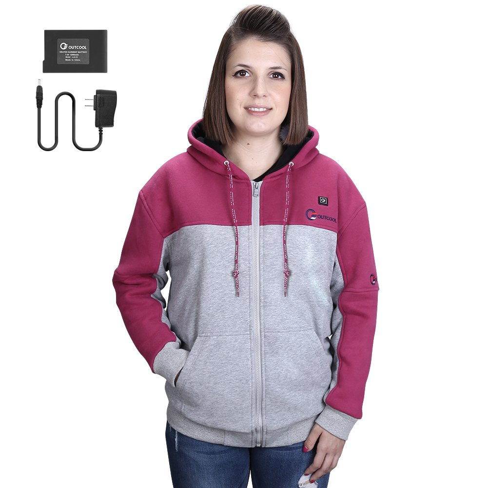 OUTCOOL Women's Cordless Heated Hoodie Kit Color Matching Design Full-Zip Hooded Fleece Sweatshirt(M)