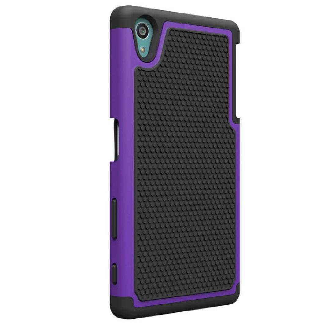 Sansee Hybrid Rugged Rubber Hard Back Case Cover Skin For Sony Xperia Z5 (Purple)