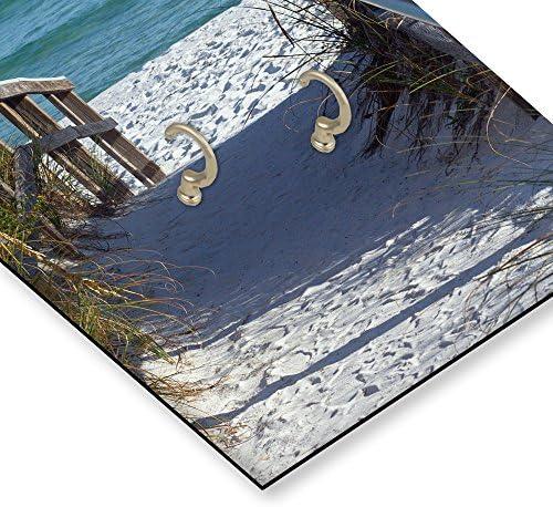 Multicolore VUE PLAGE Feeby Tableau Horloge D/éco Panel MER SENTIER 25x60 cm EAU Horloge Murale avec crochet BLEU MARRON PASSAGE NATURE