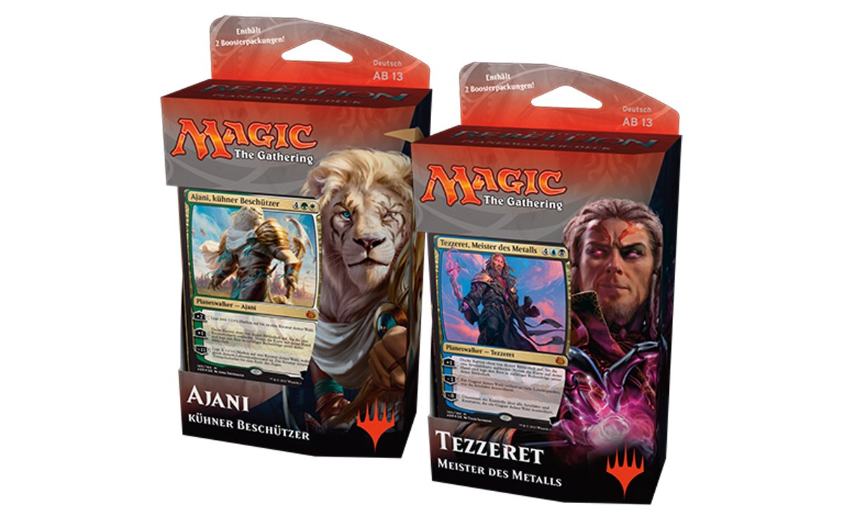 """Magic the Gathering Ã""""ther-Rebellion Planeswalker Decks Display (6) german Wizards Coast Trading cards"""