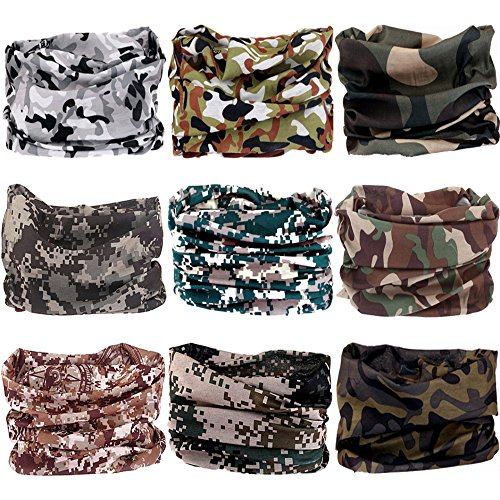 VANCROWN 9PCS Headwear, Headband Scarf Bandanna Headwrap Mask Neckwarmer & More 12-in-1 Multifunctional Stretchable Sport & Casual (9PC.Camouflage New Series.2)