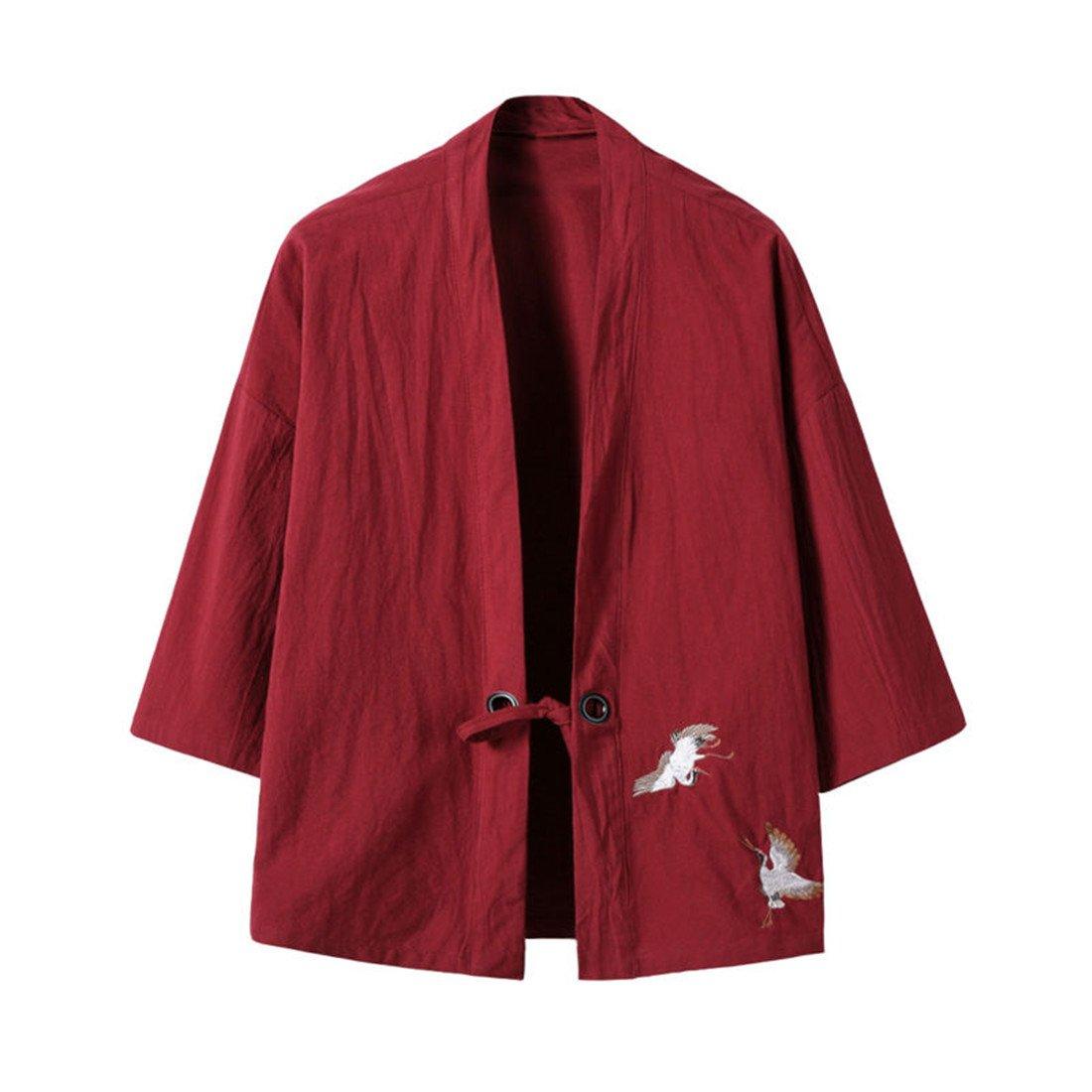 Hzcx Fashion Men's Cotton Blends Linen Open Front Cardigan Kimono Jackets QT4018-M708-60-WI-US L(44) TAG 4XL US L(CHEST 44'') Wine