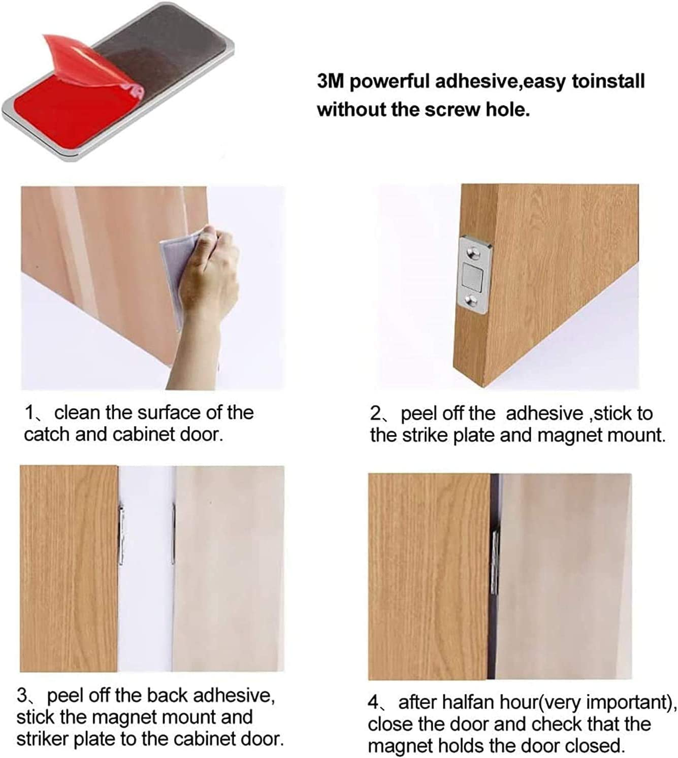 10 Sets Punch-free Magnetic Door Closer Stainless Steel Invisible Ultra Thin Adhesive Drawer Magnets Door Catch