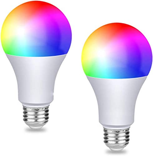 HIKETOLIGHT WiFi Smart LED Light Bulb 2.4G Not 5G E27 WiFi Multicolor Light Bulb Work with Alexa,Siri, Echo, Google Home No Hub Required , A19 40W Equivalent RGB Color Changing Bulb 2 Pack