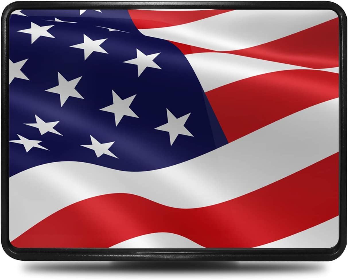 iPick Image for United States USA American Flag Waving UV Graphic ABS Plastic 2 inch Tow Hitch Cover