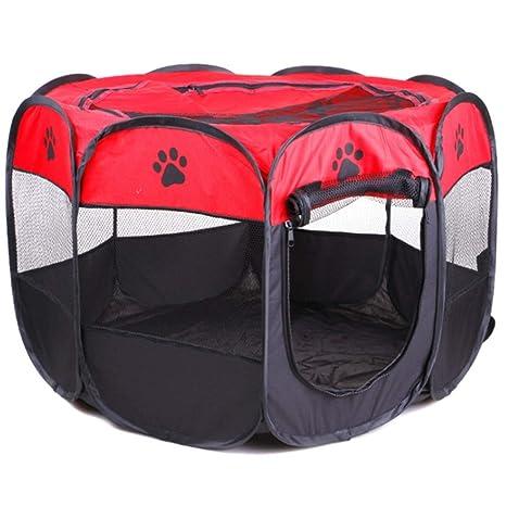 Authda Parque de Juegos Portátil de 8 Paneles para Perros y Gatos Animales Pequeños Lavable para