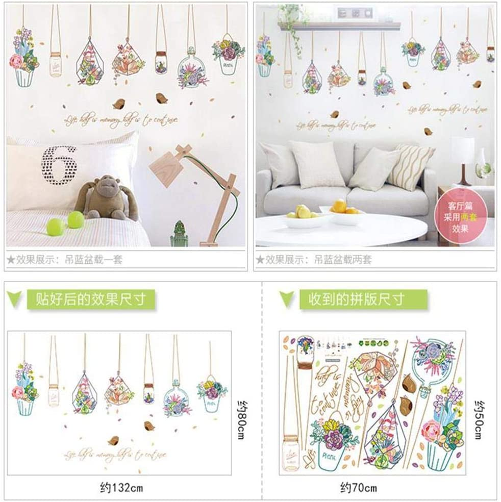 ZKZKW Wall Stickers Bonsai Potted Butterfly Flower Plants Wall Stickers Living Room Kitchen Window Home Decor