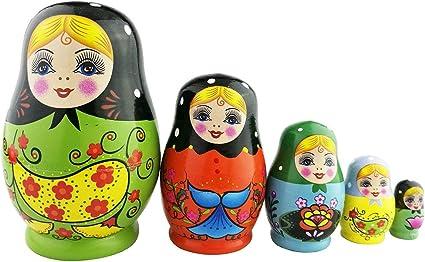 10Pcs Wooden Handicraft Russian Nesting Doll Matryoshka Stacking Dolls Set