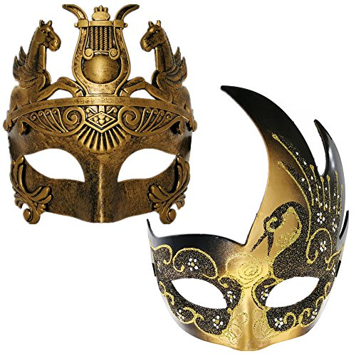 Venetian Masquerade Couple Mask For Silver Butterfly /& Roman Mask-Elastic Band