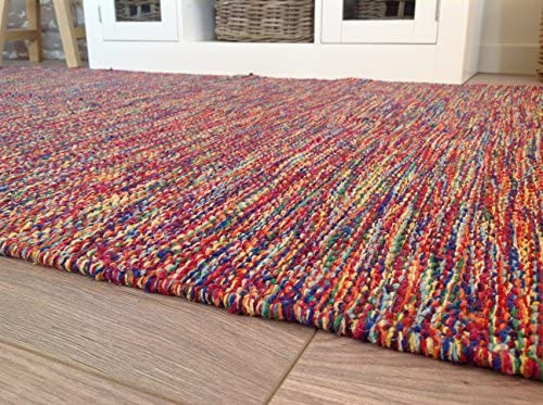 Alfombra multicolor de hilo de algodón tejida a mano en la India ...