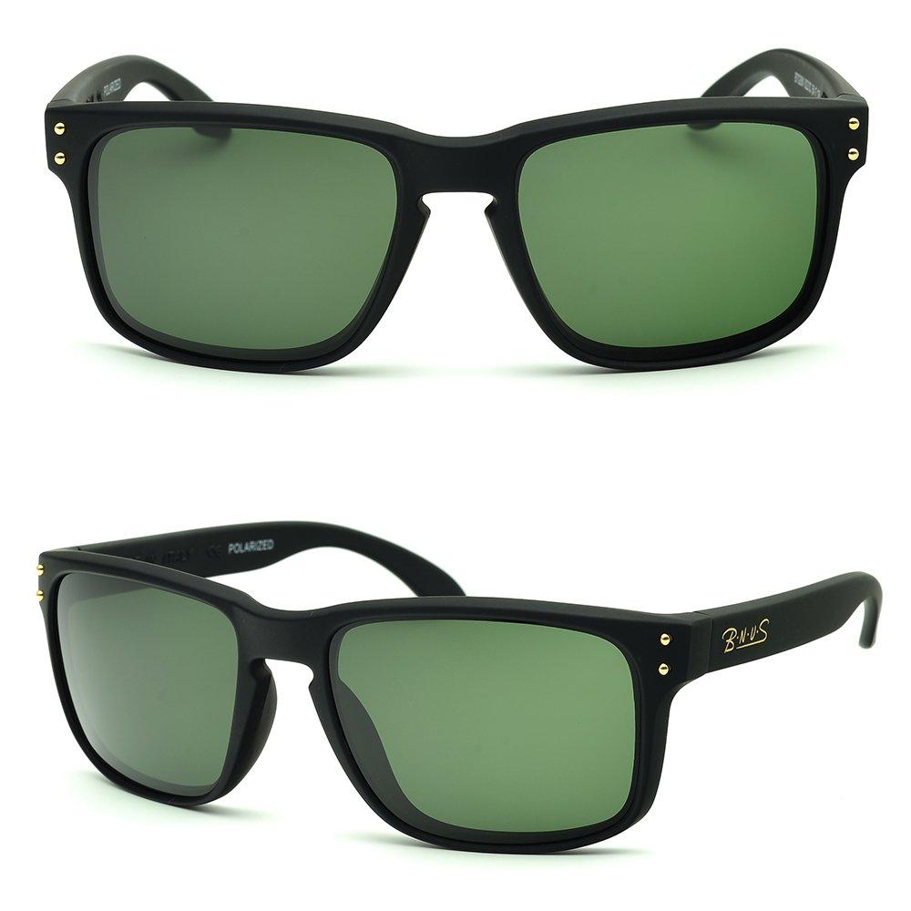 BNUS corning natural glass lenses Polarized sunglasses for men (Frame: Matte Black, Polarized Green G15)