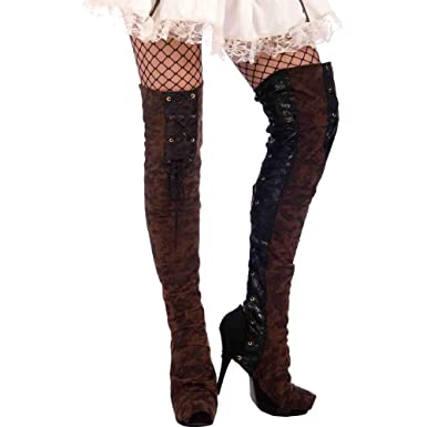 Amazon.com: Forum Novelties Steampunk Thigh High Boot Tops, Black ...