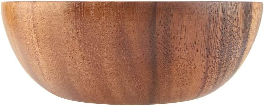 Insalatiera in legno massello di acacia fatta a mano 13 * 7cm Ciotola in legno Utensili da cucina in legno a forma rotonda rotonda per frutta in zuppa di insalata